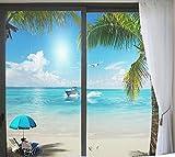 Pellicola per Vetri Finestre Adesivo Privacy Risparmio Energetico Decorazione per Uffici Bagni Residenziali Paesaggio Marino Spiaggia 45x60cm