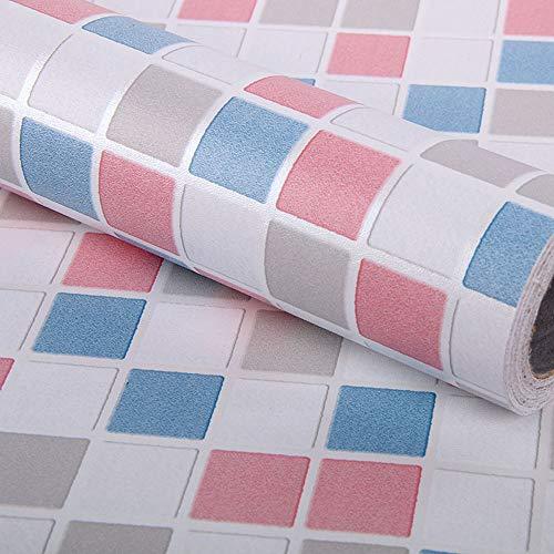 Kitchen-dream Papel Autoadhesivo para Azulejos de Mosaico, Adhesivo para Azulejos, Papel Tapiz Autoadhesivo Impermeable de PVC para Muebles para baño, Cocina, Pared (45 cm x 3 m, Rojo)
