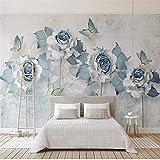 Mural PapelPintado TelaNoTejidapapeles Pintados Modernos Flor Azul Mariposa Papel De Pared Mural Salón Dormitorio Papel Parede 3D Vinilo Autoadhesivo/Papel Tapiz De Seda, 250 * 175 Cm