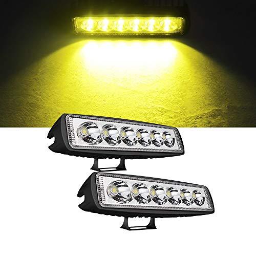 LED作業灯18W フォグランプ ワークライト デッキライト 前照灯 イエロー 12v24v兼用 防水 防塵 省エネ SUV ATV UTV 汎用 2個セット 一年保証Samman
