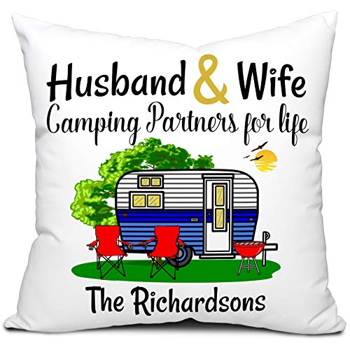 Personalized Husband & Wife Camping Partners For Life 18x18