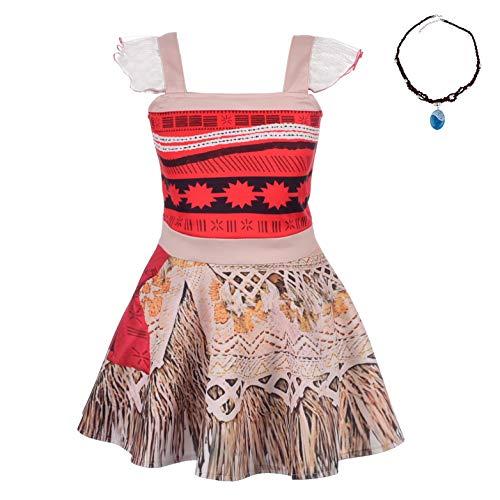 Lito Angels Vestito Intero Vaiana per Bambina, Costume Avventura Oceania con Collana, Abito da Festa di Halloween, Taglia 6-7 Anni