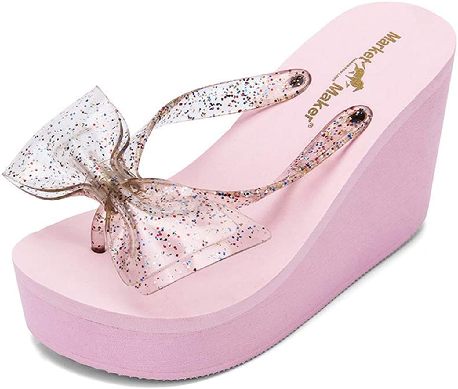 T-JULY Fashion Women Flip Flops with Bow Female Summer Beach Wedges Water-Resistant High-Heeled Slippers shoes