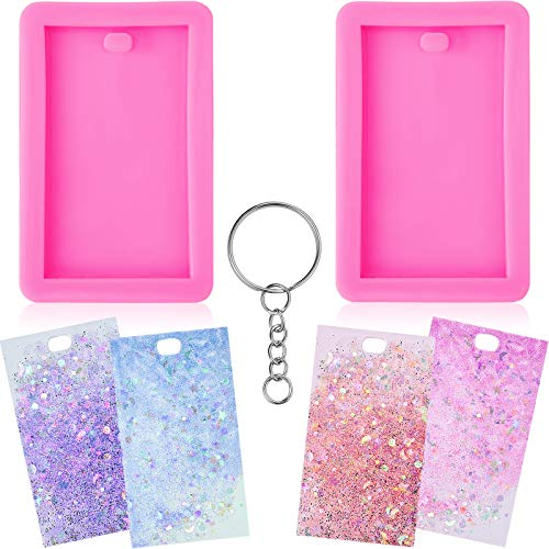 Rectangle Tag Keychain Silicone Mold with Hole Keychain Mold and Key Rings with Chain for DIY Fondant Mold Trinket Gum Luggage Tag Cake Decoration Pendant (22 Pieces)