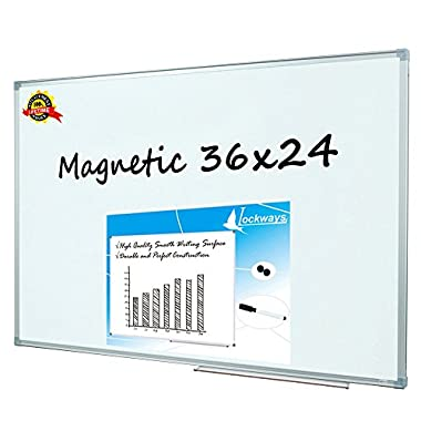 Lockways Magnetic Dry Erase Board - Magnetic Whiteboard / White Board 36 x 24 Inch, 3 x 2 Silver Aluminium Frame, 1 Aluminum Marker tray, 1 Dry Erase Markers, 2 Magnets for School, Home, Office