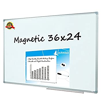 Lockways Magnetic Dry Erase Board - Magnetic Whiteboard/White Board 36 x 24 Inch 1 Dry Erase Markers 2 Magnets for School Home Office