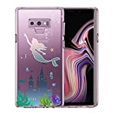 Unov Case for Galaxy Note 9 Clear with Design Soft TPU Shock Absorption Slim Embossed Pattern Protective Back Cover(Mermaid Castle)