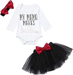 Kobay Babykleidung Mädchen Winter 3 STÜCK Neugeborenes Baby Leter Pailletten Tops Strampler Bogen Gaze Rock Clothes Sets