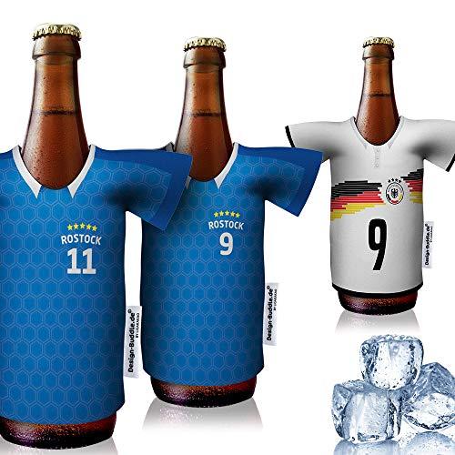 Herren-Trikot-kühler Away Fanartikel für FC Hansa Rostock-Fans | 3er Fan-Edition-Plus | Fußball Jersey Bierkühler by Ligakakao
