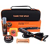 Tame's Easy Glide Beard Straightener Essentials Kit - Anti Scald Beard Straightening Comb - Heat Spray - Beard Soap - Beard Balm - Detangle Comb - Storage Case. The Ultimate Beard Straightening Kit