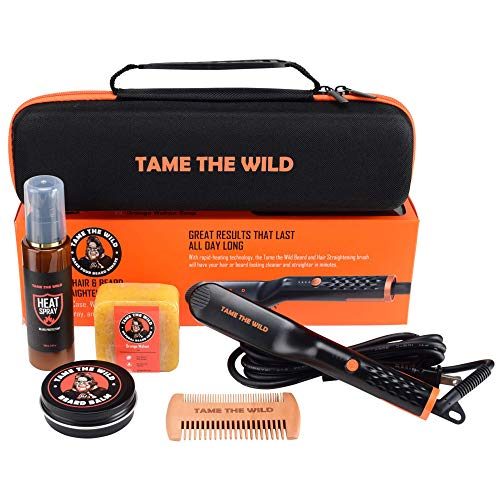 Tame's Easy Glide Beard Straightener Essentials Kit - Anti Scald Beard Straightening Comb - Heat Spray - Beard Soap - Beard Balm - Detangle Comb - Storage Case. The Ultimate Beard Straightening Gift Set
