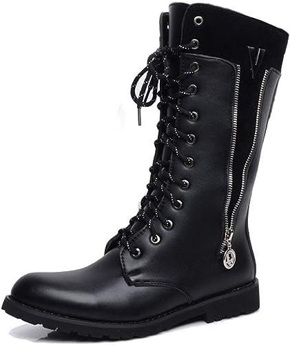Fuxitoggo Chaussures pour Hommes Bottes à Fermeture à glissière glissière latérale à Lacets en Cuir supérieur mi-Mollet Martin (Couleur  intérieur Polaire Noir, Taille  42 EU)  magasins d'usine