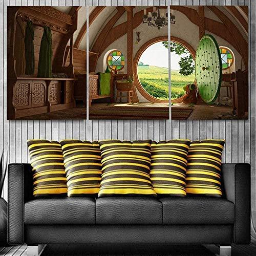Cuadros lienzos Cuadros Fondos de Pantalla señor de los Anillos El Hogar Cuadros De Lienzo 3 Paneles The Sea Painting para Sala De Estar Modern HD Print con Marco(120 * 60cm