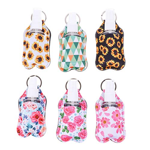 Minkissy 6 Sets Empty Hand Soap Dispenser Holder Keychain Portable Travel Bottles Refillable Empty Bottles with Cover Clips for Travel Outdoor