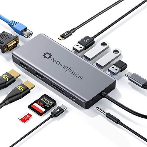 Adaptador Hub USB C a Dual HDMI 13-en-1 NOV8Tech Estacion de Acoplamiento Ethernet, VGA, Triple Display para MacBook Pro/Air & Laptops Tipo C, USB C 100W, Lector SD/Micro SD, 3X USB 3