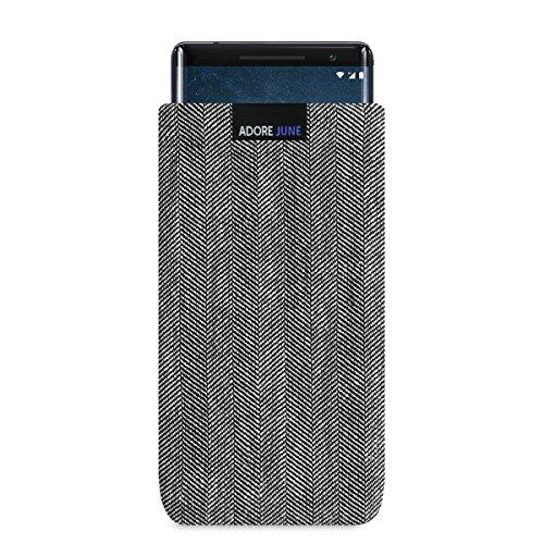 Adore June Business Tasche für Nokia 8 Sirocco Handytasche aus charakteristischem Fischgrat Stoff - Grau/Schwarz | Schutztasche Zubehör mit Bildschirm Reinigungs-Effekt | Made in Europe