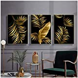 FDCYFFS Home Decor Nordic Canvas Painting Wall Art Gold Plant Picture Modern Tropical Leaf Living Room Decoration Painting Poster Print 40X60 Cm X3 No Frame