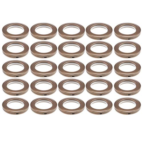 YINETTECH Lot de 25 œillets de rideau en plastique de forme ronde avec œillets pour rideau à faible bruit, rideau de fenêtre, vestiaire, porte, sac à dos, trou marron