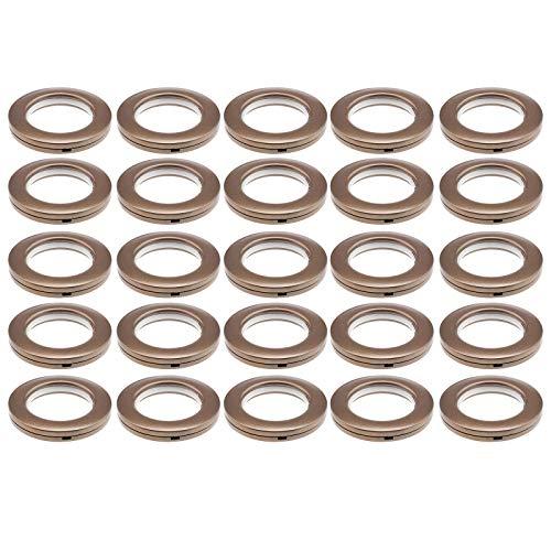 YINETTECH - Juego de 25 ojales para cortina, anillas de plástico con forma redonda de bajo ruido, persianas para ventana, ducha, armario, puerta, mochila, agujero de color marrón