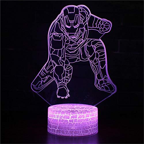 3D Optical Illusion Lampe,16 Farbänderung Berühren Sie empfindliches LED-Nachtlicht des Schalters mit Acrylflachem, ABS-Unterseite, USB-Gebühr für Hauptdekor Perfekte Geschenke für BabyIronman