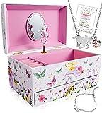 Caja de joyería de unicornio para niñas, 3 regalos de unicornio para niñas, caja de joyería para niñas, juego de joyas de unicornio para niñas, caja de música de unicornio para niñas