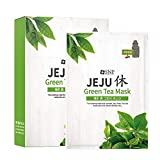 SNP - Jeju Rest Green Tea Korean Face Sheet Mask - Maximum Hydration & Protection for All Dry Skin Types - 10 Sheets - Best Gift Idea for Mom, Girlfriend, Wife, Her, Women