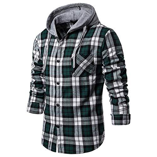 Mr.BaoLong&Miss.GO Ou Code Camisa A Cuadros Informal para Hombre Camisa Decorativa con Capucha Camisa De Manga Larga para Hombre