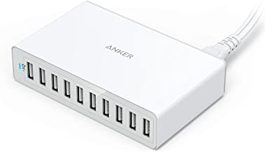 Anker 60W 10-Port USB Wall Charger, PowerPort 10 for iPhone Xs/XS Max/XR/X/8/7/6s/Plus, iPad Pro/Air 2/Mini, Galaxy S9/S8/S7/Plus/Edge, Note 8/7, LG, Nexus, HTC and More
