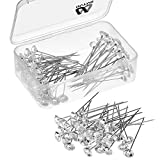 Bouquet Pins Corsages Flower Pins Clear Sewing Crystal Head Pins for Wedding Jewelry Decoration, 2 Inch (100 Pieces)