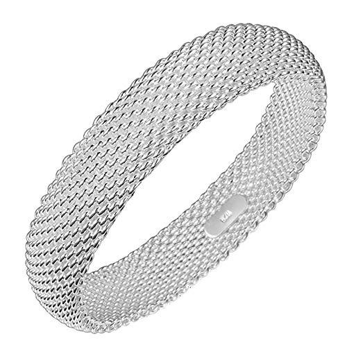 Onefeart Sterling Silber Bangle für Frauen Mädchen Mesh Grid Design Soft Wristband 7CM Silber