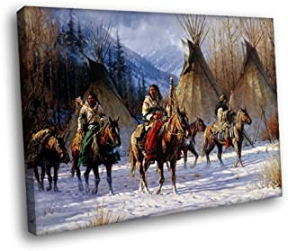 H5D6399 Native American Horses Wigwams Snow Art Indians 20x16 FRAMED CANVAS PRINT