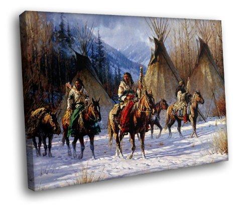 H5D6399 Native American Horses Wigwams Snow Art Indians 20x16 FRAMED CANVAS PRINT