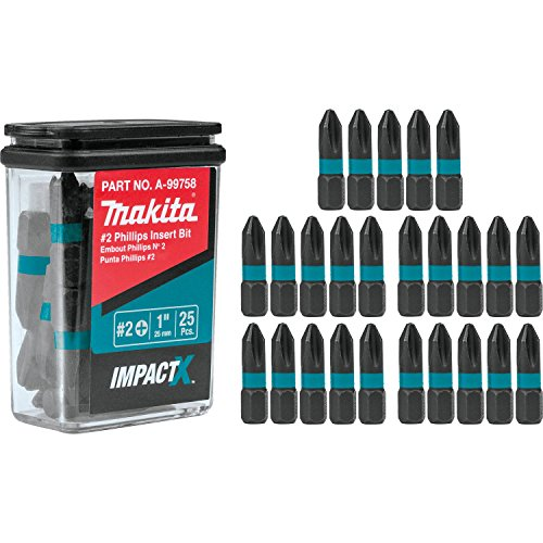 Makita A-99758 Impactx 2 Phillips 1″ Insert Bit, 25 Pack