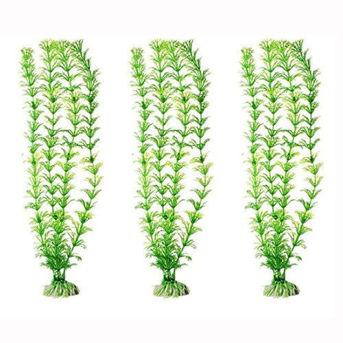 CNZ Aquarium Decor Fish Tank Decoration Ornament Artificial Plastic Plant Green (12-inch Green, 3pcs)