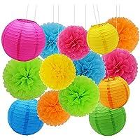 Decoración de Fiesta Pompom Flores,Abanicos de Papel Bola,Kit de Fiesta de Pompones,Papel para Colgar Bola Decoración,pompones de papel,Flores Decoracion Cumpleaños (21set)
