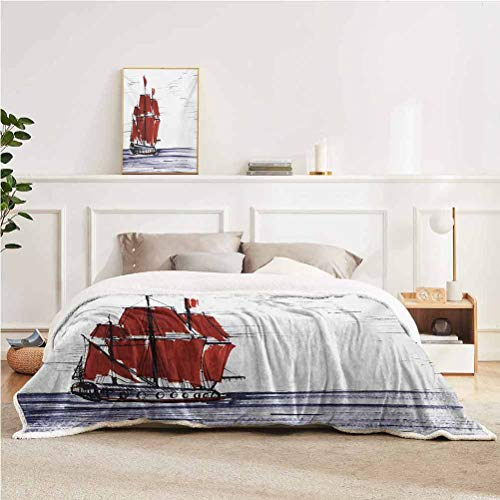 "YUAZHOQI Sketchy Throw Blanket for Couch Bed Sailing Ship Floating on The Sea Drawing Style Nautical Maritime Theme Throw for Girlfriend Best Friend 60"" x 80"" Dark Purple Ruby Black"