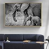 MJKLU Negro Blanco Africano protección de Animales Salvajes Elefante Madre bebé famimly Amor Lienzo Pintura Pared Arte Cartel Dormitorio Sala de Estar Oficina Estudio decoración del hogar