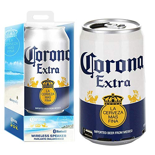 Corona Bluetooth Can Speaker- Wireless Audio Sound Stereo Beer Can, Bluetooth Corona Music Player Portable Travel Stereo Speaker. Official Corona Universal Speaker for all Devices - Corona Extra White
