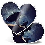 Impresionante pegatinas de corazón de 15 cm, diseño de antena parabólica nocturna para ordenadores portátiles, tabletas, equipaje, libros de chatarras, neveras, regalo genial #3642