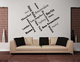 Style & Apply World Cities II: Madrid, Sydney, Amsterdam, etc Wall Decal Wall Sticker, Vinyl Wall Art, Home Decor, Wall Mural, Quotes and Sayings - 1218 - Beige, 12in x 9in