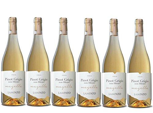 """Vino Bianco Pinot Grigio I.G.T. 2018 Cantine""""LAMPATO"""" Colline Pescaresi -Abruzzo -Italy - Box da 6 Bottiglie da 0,75 lt."""