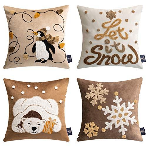 Phantoscope 4er-Set dekorative Samt-Kissenbezüge mit gestickter Laterne, Pinguin, Bär, Schneeflocke für Couch, Sofa, Bett, Kaffee, 45,7 x 45,7 cm