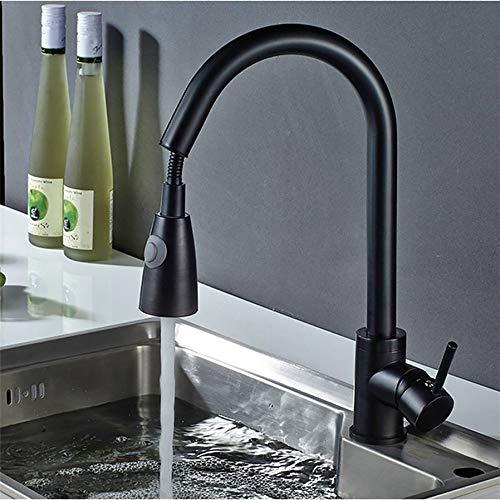 Ziehbarer Edelstahl 304 Küche Spültisch Küchenarmatur Wasserhahn Mischbatterien Einhebel Amatur schwarz + 3/8 Anschlussschläuche