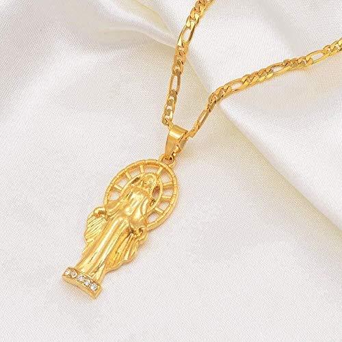 ZJJLWL Co.,ltd Collar Virgen María Collares Pendientes con Piedra Mujeres Hombres Color Dorado Joyería de Nuestra Señora Colar Cruz Cadenas de religión
