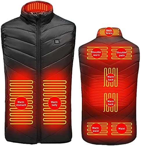 TCTCXQG Beheizte Weste Beheizte Weste, elektrisch beheizte Jacke für Herren Damen, USB-Ladeweste mit 9 Heizkissen für Outdoor-Wandern