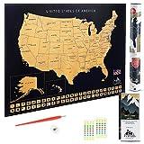 Scratch Map Off USA POSTER. Mit Hauptstädte, Städte,