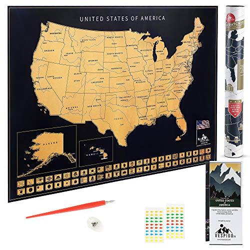 USA Scratch Off Map by Vespigo - 24x17 - National Parks - State Flags - Scenic Trails - Bonus...