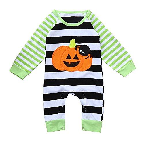OverDose Damen Neugeborenes Baby Halloween Gestreiften Spinne Kürbis Logo Nette Cosplay Attraktive Mode Weicher Strampler Overall Outfits Kleidung Anzug