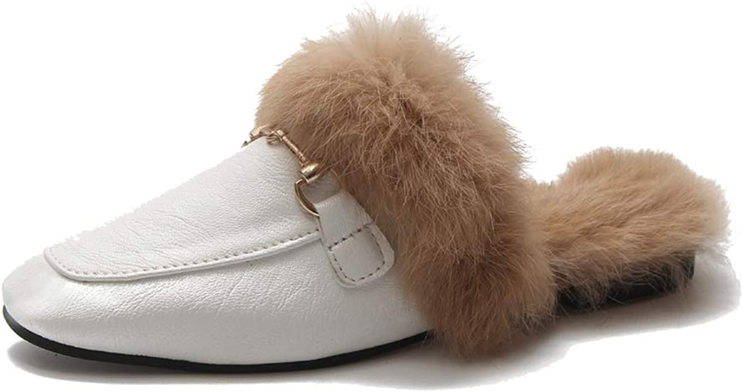 York Zhu Women Home Slippers,Plush Fur Slippers Winter Warm Pointed Toe Flats shoes