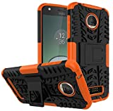 Yiakeng Moto Z Play Droid Case, Shockproof Impact Protection Tough Rugged Dual Layer Protective Case Cover with Kickstand for Motorola Moto Z Play Droid (Orange)